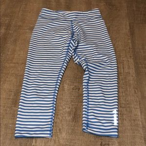 reebok striped cropped leggings